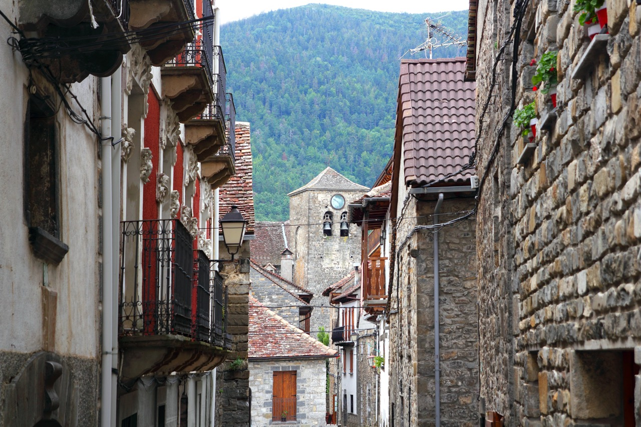 Anso Village street stone houses in Pyrenees Aragon Spain